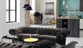 Interiørinspo velour sofa og kjøkkenfliser