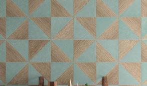 Mønsterfliser med trekanter i turkis og tre til kjøkkenet