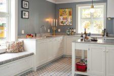 Kjøkkengulv med mønsterfliser 20x20cm