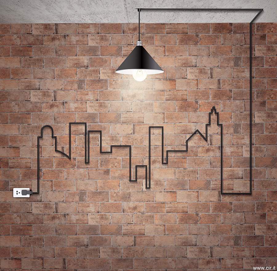 Rustikk kjøkkenflis inspirert av murstein