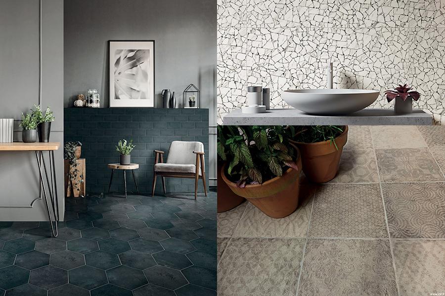Rustikke fliser i små formater til gulv og vegg.