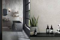 Store baderomsfliser i naturfarger til vegg og gulv