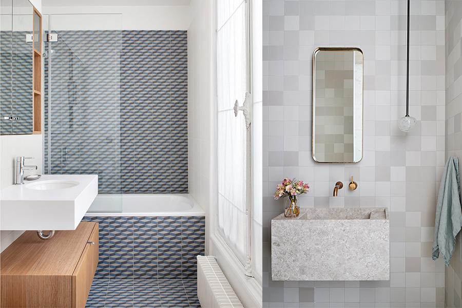 Små fliser med mønster eller ensfarget til gulv og vegg på badet.