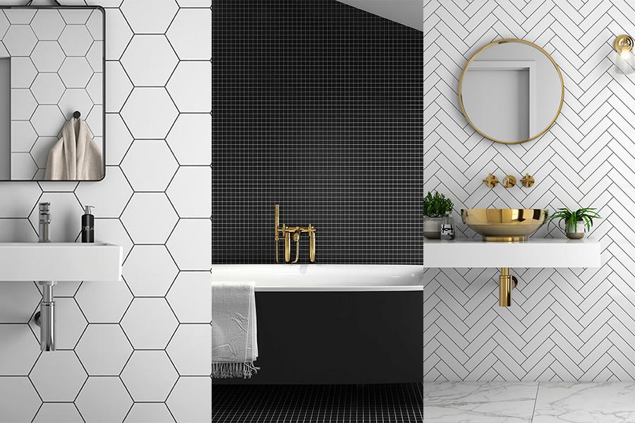 Gulvfliser og veggfliser i hexagon, fiskeben eller mosaikk.