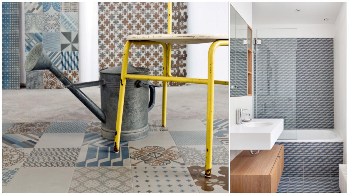Trendy fliser med mønster, grafisk design.