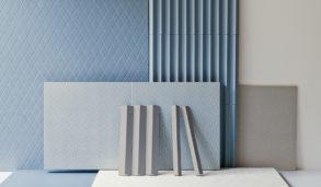 Blå fliser i 3D med mønster