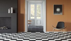 Stue med sjakkmønster på gulvet i fliser fra Mutina