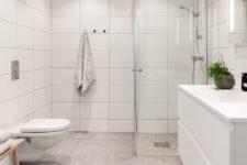 Tidløst bad med grå gulvfliser