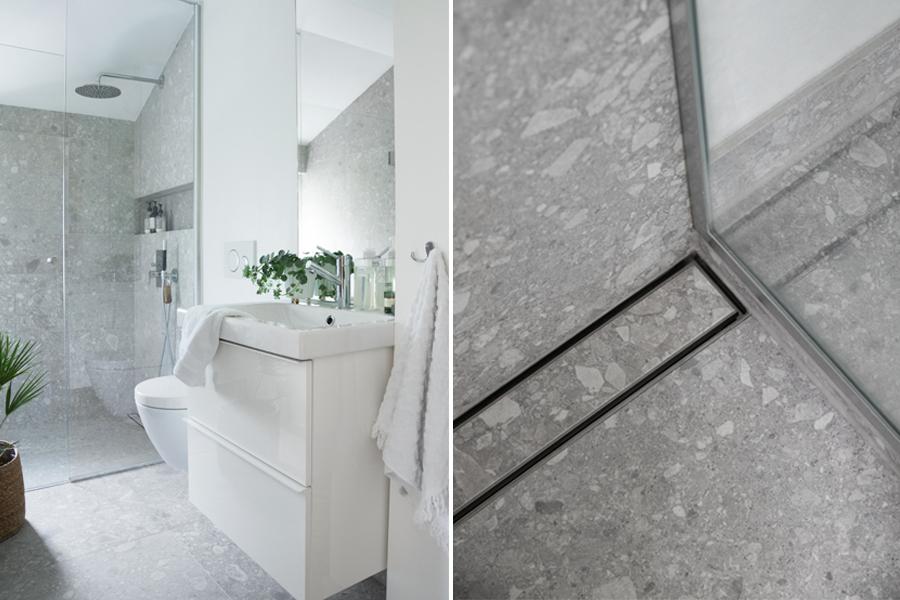 Bad med miljøvennlige grå fliser