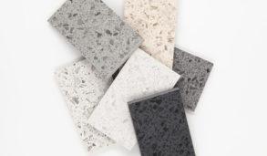 Collage med vedlikeholdsfrie keramiske terrazzofliser