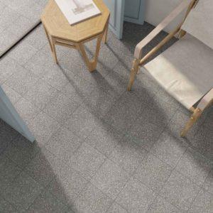 Gulv med grå terrazzoflis i format 20x20 fra Kerion