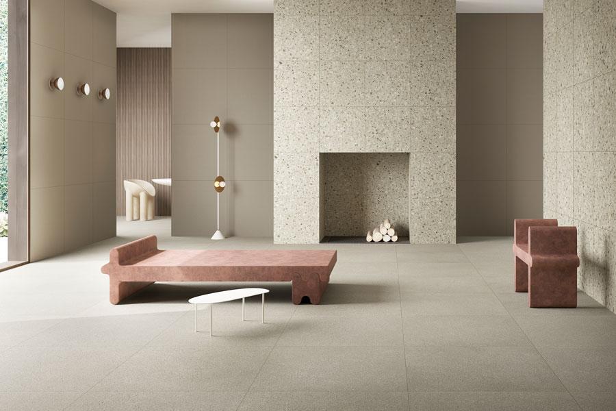 Stue med keramisk terrazzo fra Vitra på gulv