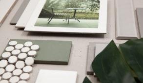 Moodboard med grå og grønne fliser fra Fagflis