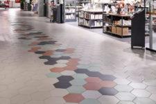 Herbarium kjøpesenter Stavanger med hexagon gulvfliser i farger