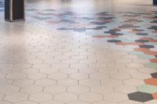 Herbarium kjøpesenter Stavanger lyse gulvfliser i hexagon