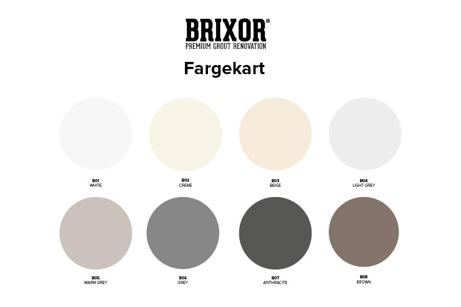 Fargekart med 8 standard farger til Brixor fugefornyer