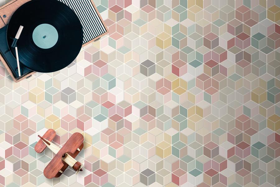 Flerfarget hexagon flis med farger i rombemønster